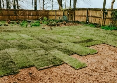 sod being layed in backyard