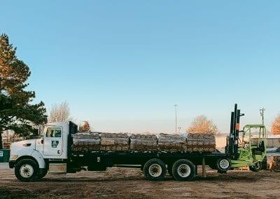 semi truck with sod